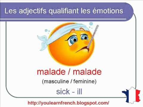 French Lesson 109 - Adjectives of emotion - mood - emotions - Adjectifs émotions humeurs