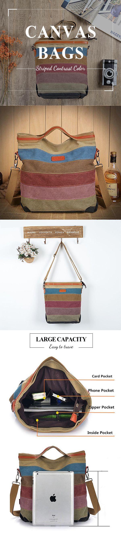 [$ 28.73] Women Canvas Striped Contrast Color Canvas Crossboby Bags