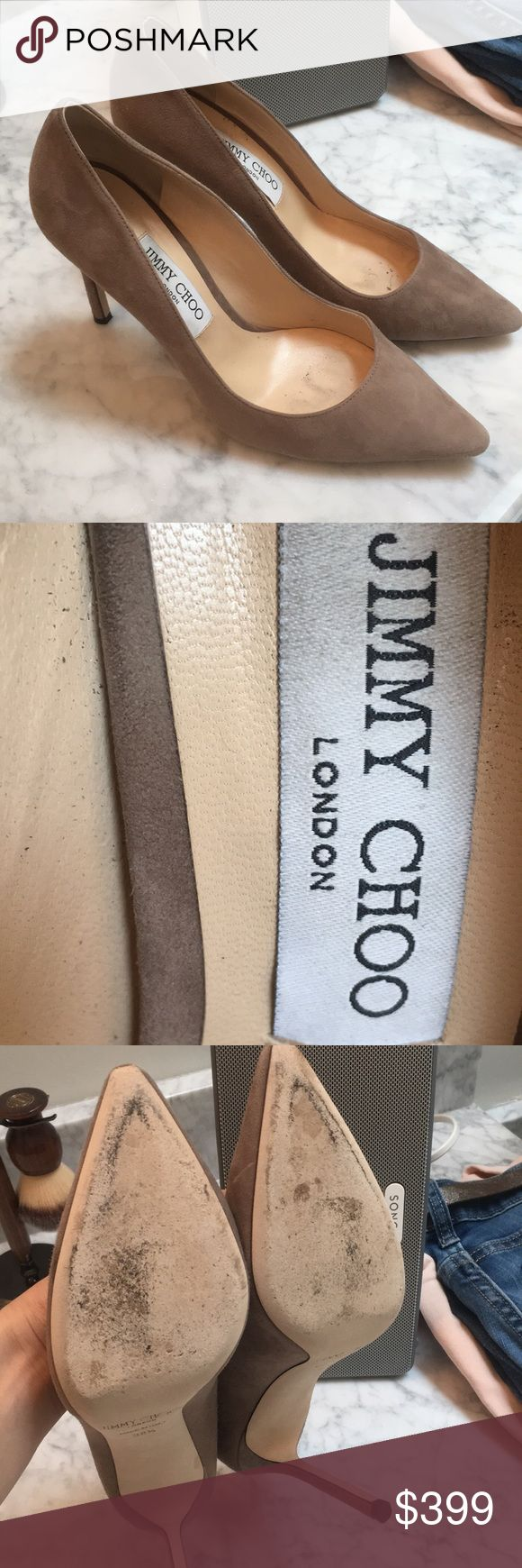 Jimmy Choo grey suede pump s.38.5 Worn 2 times, only flaw is a rice grain size grey mark on 1 heel but a trip to shoe repair and they'll b as new, just don't have  the time to take them. Sale for now, will be returning to my closet if not sold, love them too much and they go w everything. Jimmy Choo Shoes Heels