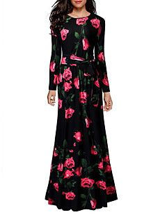 Women's Holiday Going out Casual/Daily Vintage Sexy Sheath Dress,Floral Round Neck Maxi Long Sleeves Cotton Fall Winter High Rise