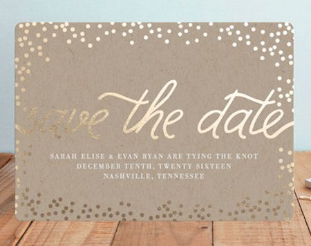 Pretty Gold Foil Save The Date Cards