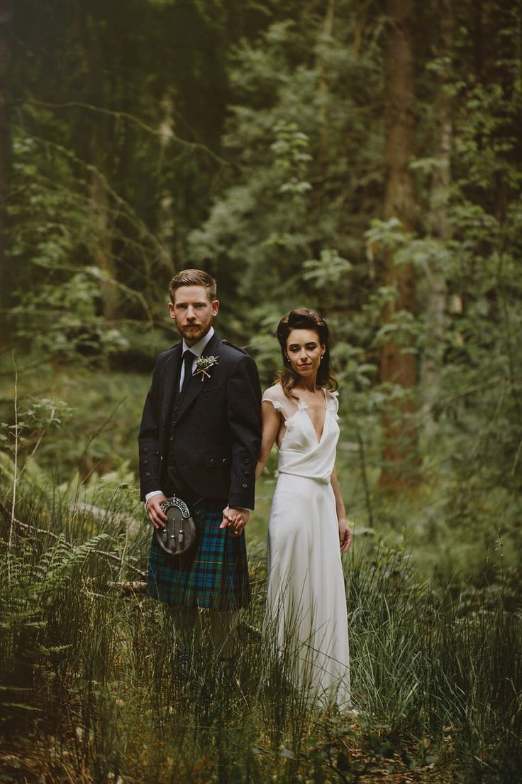 Bride and Groom from a nature inspired Humanist wedding at Coo Cathedral in the Scottish Highlands. Photography by http://www.thecurries.co/