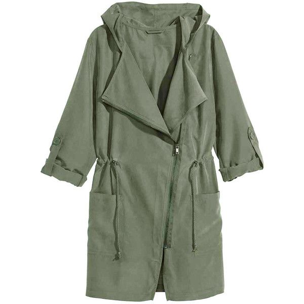 Yoins Khaki Green Trench Coat with Hood (£24) ❤ liked on Polyvore featuring outerwear, coats, jackets, coats & jackets, green, green trench coat, long sleeve coat, green hooded coat, green coat and utility coat