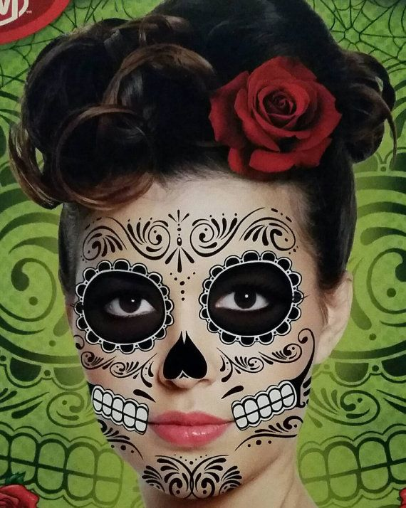 Check out this item in my Etsy shop https://www.etsy.com/ca/listing/249205879/temporary-day-of-the-dead-face-tattoo