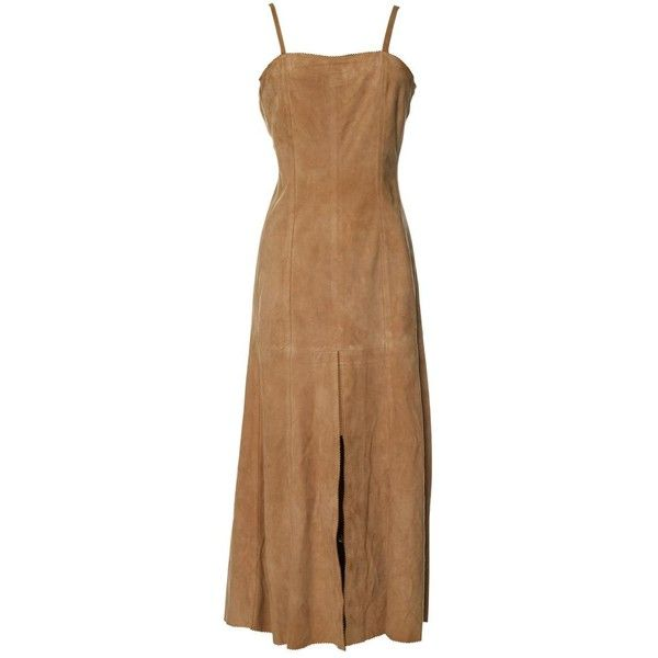 Pre-owned Chanel Mid-Length Dress (11.339.490 IDR) ❤ liked on Polyvore featuring dresses, beige, women clothing dresses, mid length dresses, pre owned dresses, beige dress, chanel dress and brown dresses