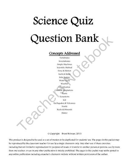 Science Quiz Question Bank from Bitzen Peesus on TeachersNotebook.com -  (17 pages)  - Sixteen pages of science questions in table format to be used for many purposes.