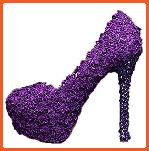 Oudy Women's Platform Lace Wedding Pumps High Heels Birthday Party Shoes 5.5 US 4.75In Heels Purple - Pumps for women (*Amazon Partner-Link)