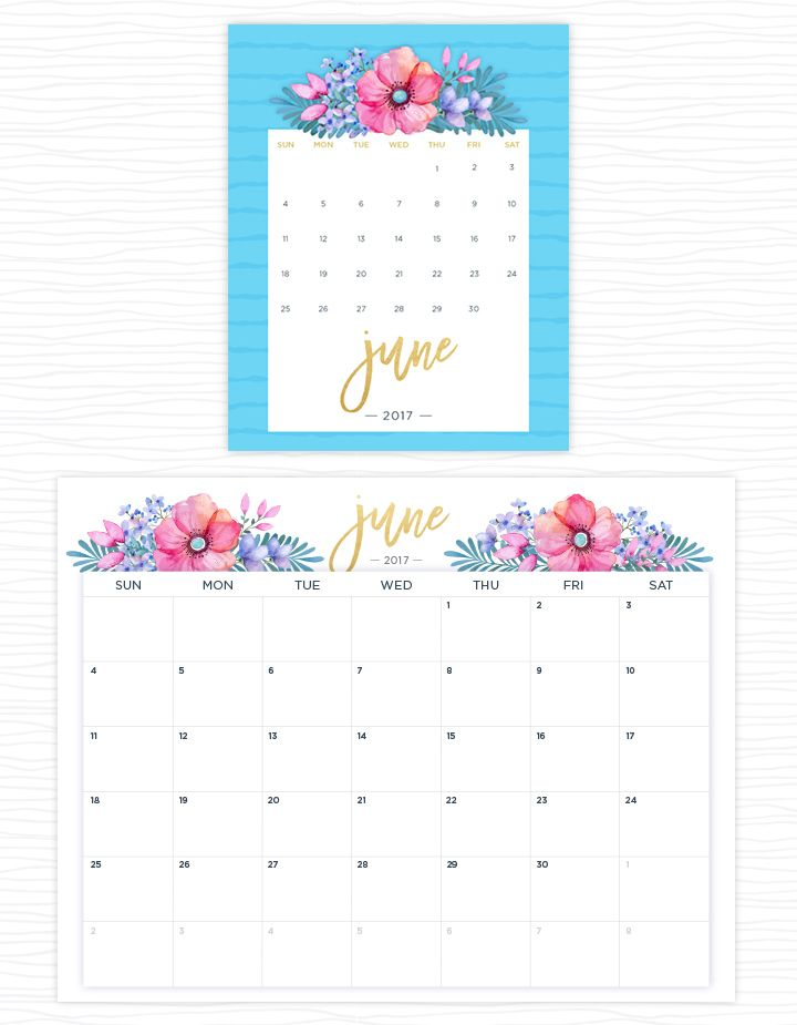 Free Floral  2017 calendars