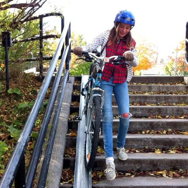 Bike staircase at Hartwell's Locks near Carleton University, Ottawa, Photo credit: Graham Larkin. Click image for source, and visit the Slow Ottawa 'Streets for Everyone' Click image for source, and visit the Slow Ottawa 'Streets for Everyone' board for more people-friendly urban spaces.