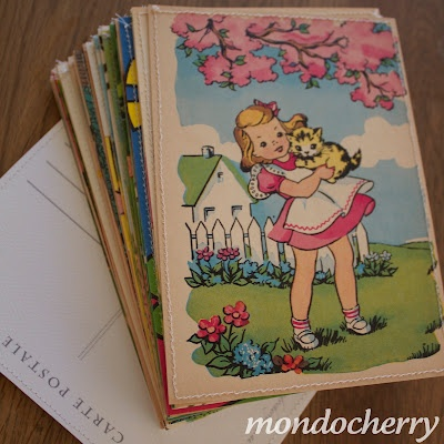 Post cards made from pages of vintage children's books.  I have a lot of children's old books. This is doable.