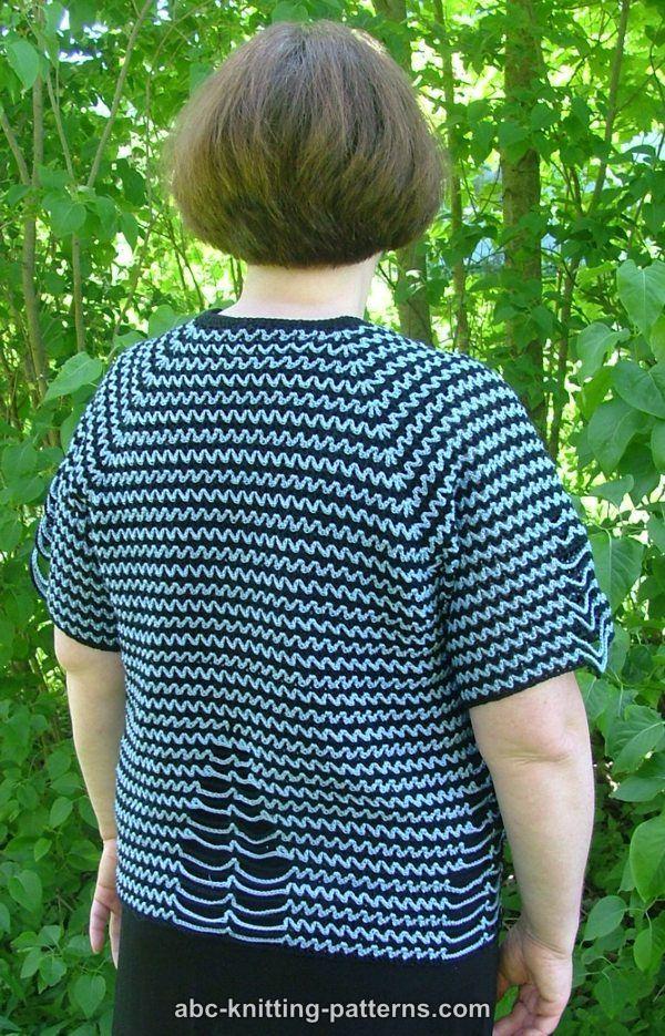 ABC Knitting Patterns - Two-Tone Raglan Top-Down Summer Cardigan