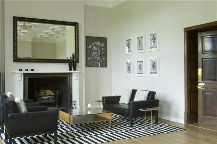 Lounge with walls in Dimity Estate Emulsion and ceiling/trim in All White Estate Emulsion/Eggshell. An inspirational image from Farrow and Ball