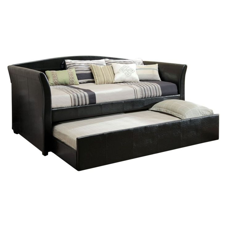 Furniture of America Contemporary Leatherette Upholstered Daybed with Trundle - IDF-1956BK