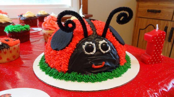 Ladybug Smash Cake Ladybug Smash Cake: Base is boxed vanilla cake mix. I used the sports ball pans for the shape. The frosting is the...