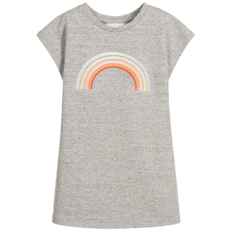 Chloé - Girls Grey Rainbow Sweatshirt Dress | Childrensalon