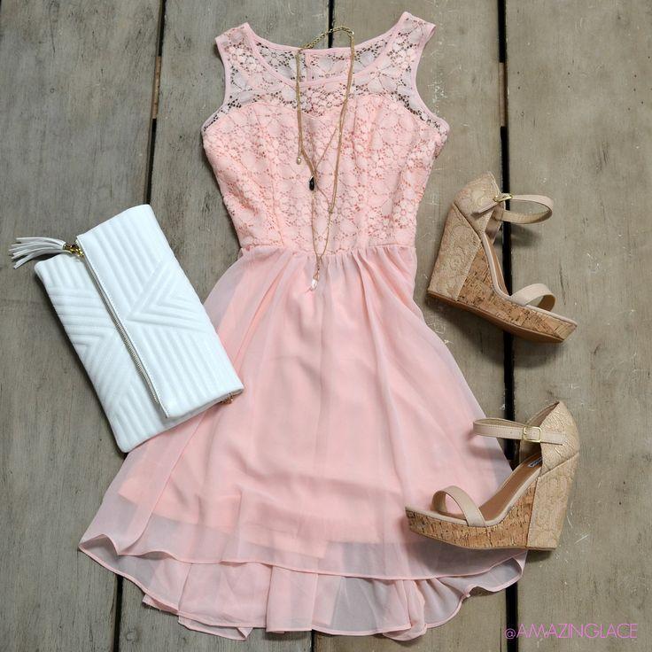 Love Me Tender Light Pink Lace Open Back Detail Sundress