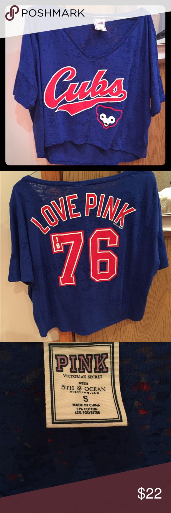 VS PINK CHICAGO CROP TOP This crop top is fairly long (covers up belly button) It is perfect for spring and summer. The cubs just won the world series and this would be the perfect addition to your closet. Please comment with questions! PINK Victoria's Secret Tops Crop Tops