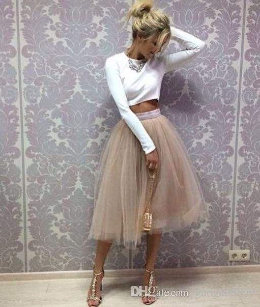 2016 Blush Pink Pastel Tulle Skirt Real Picture Knee Length White Tulle Tutu Skirts For Adults Custom Made Cheap Women Clothing Tulle Skits From Gaogao8899, $22.12   Dhgate.Com