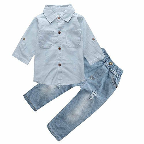 0e7dd57ad437d Mary ye Baby Girls Clothes Set Fashion Denim Long Sleeve T-shirt Ripped  Jeans Trousers