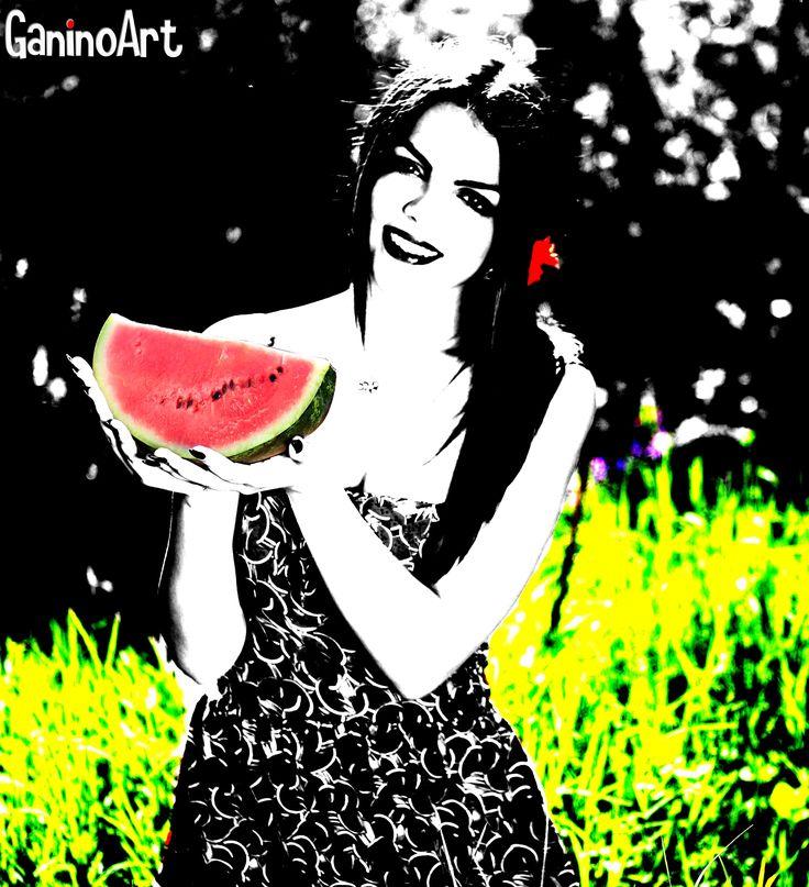 BiancoeNeroArt_Melon Woman Art