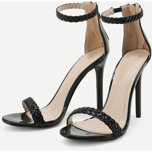 SheIn(sheinside) Woven Strappy PU Stiletto Heels (920 UAH) ❤ liked on Polyvore featuring shoes, pumps, peep-toe pumps, black high heel pumps, black pumps, t-strap peep-toe pumps and strappy pumps