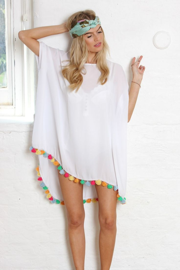 White bohemian tassel top