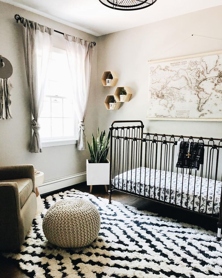 Gray Nursery With Hexagon Shelves And World Map Taupe Black And