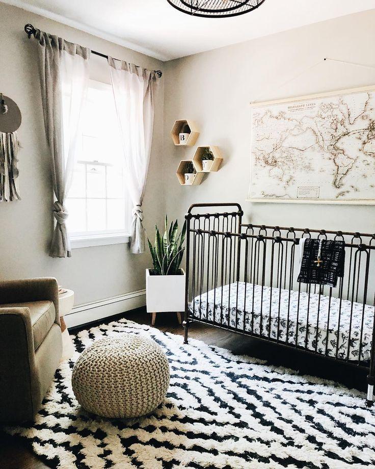 Gray Nursery With Hexagon Shelves And World Map Taupe Black And White Decor 2019 Gray Nursery With Hexagon S White Nursery Baby Bedroom White Nursery Decor