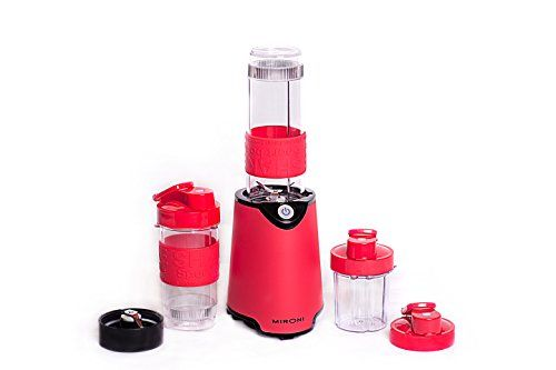 Mironi Personal 500-Watt Mini Blender and Smoothie Maker with Grinder Cup, 2 Blender Bottles and Recipe Booklet, Red #Mironi #Personal #Watt #Mini #Blender #Smoothie #Maker #with #Grinder #Cup, #Bottles #Recipe #Booklet,