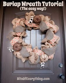 My fave Burlap Wreath Tutorial for front door or mantle - fall and thanksgiving