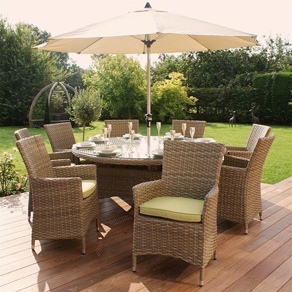 Maze Rattan Natural Milan 8 Seat Highback Garden Furniture Set