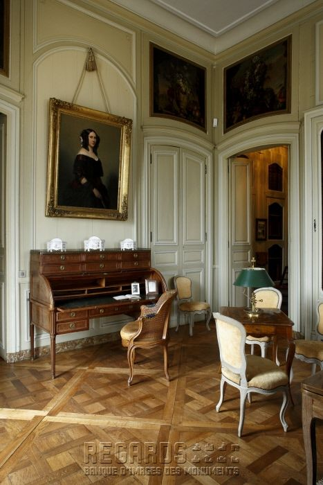 """Château de La Motte-Tilly, bibliothèque - Featuring: Roll-Top Writing Desk; """"Versailles Parquet Floors""""; Overdoor Plaques; 'gently' arched doorways; Curved Ceiling Molding - mid 18th Century. [source: www.Regards.Monuments-Nationaux.fr; Portfolio Collection of Regional Monuments]"""