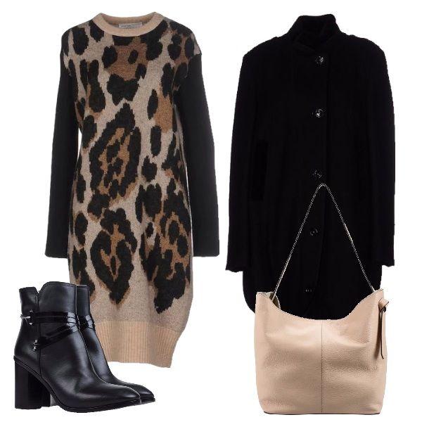 L'animalier può essere indossato anche di giorno come dimostra questo outfit in cui il vestito leopardato in lana che ho abbinato ad un cappottino nero, dei tronchetti in pelle e una borsa color nude.