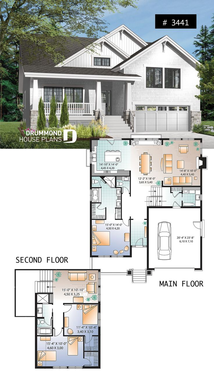 Craftsman style home plan, 3 to 4 beds, master sui…