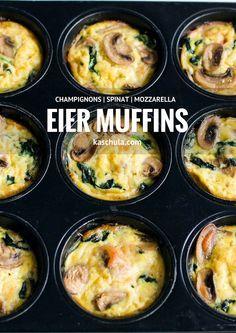 Ein Rezept fürEier Muffins mit Spinat und Champignons.