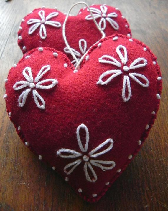 Felted Ornament Red and White Heart by Scissaroo on Etsy