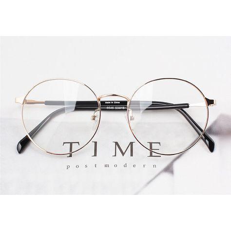 Nerd Brille filigran rund Glasses Klarglas Hornbrille treber 95E46 Gold findhoon