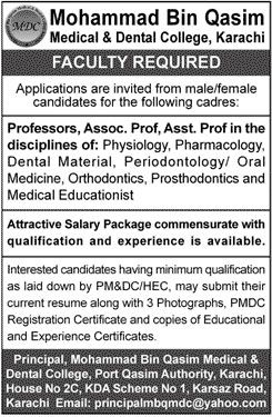 Mohammad Bin Qasim Medical and Dental College Karachi latest Jobs Male/Female http://ift.tt/2vmV9OU   Mohammad Bin Qasim Medical and Dental College   Last Date:  Apply   within 15 Days  Location:  Karachi  Posted   on:  10 Aug   2017  Category:  Others  Organization:  Education   Department   Website/Email:  principalmbqmdc@yahoo.com  No.   of Vacancies  N/A  Education   required:  Relevant  How   to Apply:  Mentioned   in Newspaper ad  Vacant Positions:  1. Professors  2. Assistant…