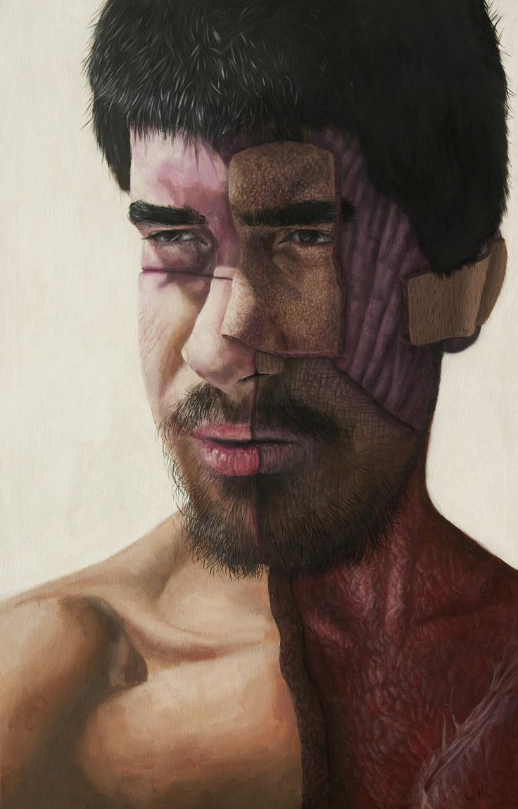 "https://flic.kr/p/KmzMTg | self-self-portrait | The feeling of the self is a constant. But the ""I"" is on permanent change and has the potencial of assuming a multitude of skins, with different pasts and with which we can have excellent conversations without speaking a word.  Acrylics, 65x100 cm"