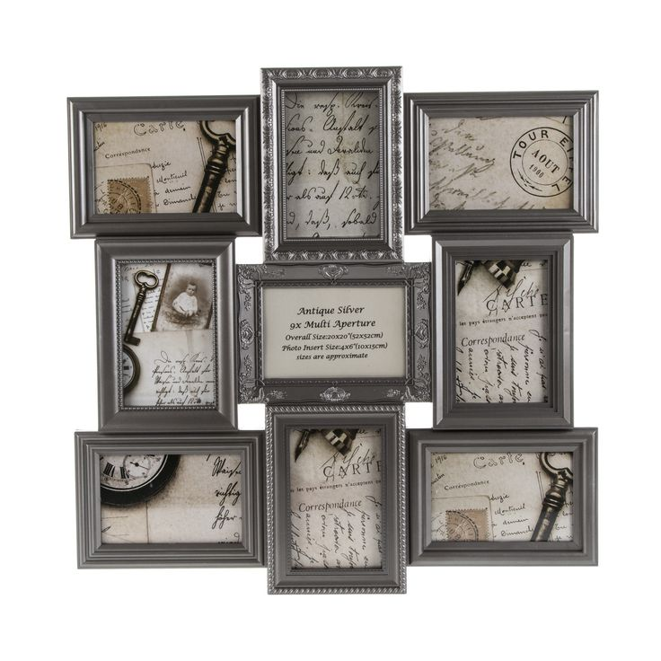 Display your favourite photos in style in this classic champagne silver multi aperture frame. This frame has space for nine photos with each frame having a nice decorative pattern. Dimensions: 51.8cm x 51.8cm x 2.2cm, 9 10cmx15cm photos