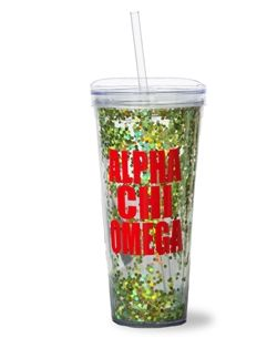 Alpha Chi Omega Stacked Glitter Tumbler.  www.sassysorority.com. #AXO #glitter #tumbler #recruitment  #bidday #greekletters #alphachi #monogram #sassysorority #gogreek #greeklife #alphachiomega