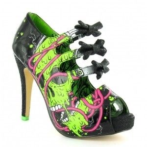 Iron Fist Dead Phones Womens 3 Bow Platform Heels - Black + Green=UGLIEST SHOES EVER