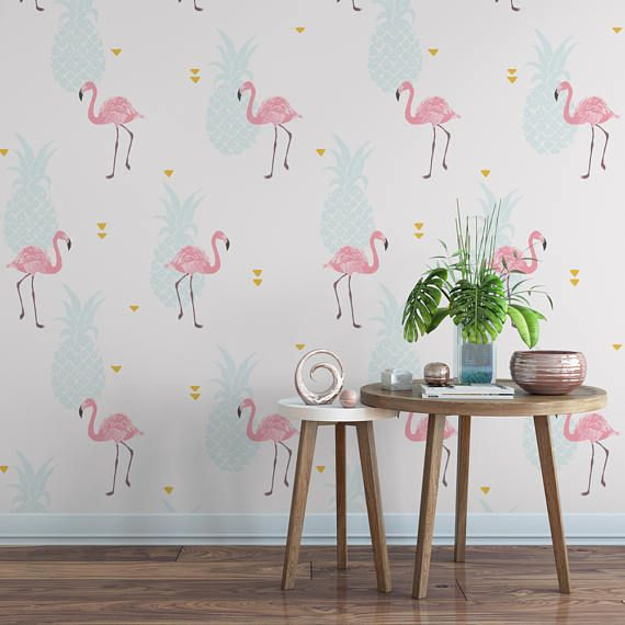 Being a Florida native, I am all about the flamingos! This flamingo and pineapple pattern is crisp and welcoming, and will add some stylish personality to your home. >>ABOUT OUR WALLPAPER<< Sweet Pea Wall Design removable wallpaper is gorgeous, vivid wallpaper that is easy to put up, is extremely durable, and comes off with absolutely no residue left on the wall. Our self adhesive wallpaper peels off with just a pull, like the perfect sticker. Feel confident trying something bold!...