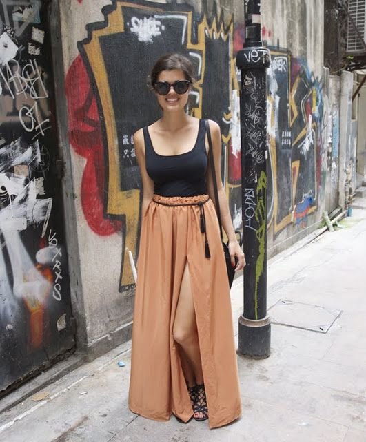 DIY Camel Maxi Skirt and Tassel Belt