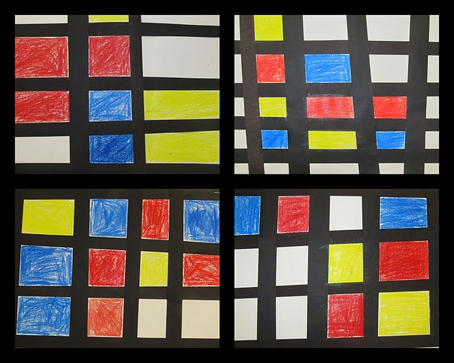 """""""Mondrian"""" studies in crayon"""