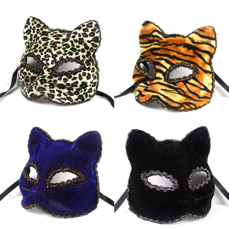 Del leopardo del tigre de la raya elegante Broadway cara del gato de color dibujo frisas máscaras Dance Party Carnival(China (Mainland))