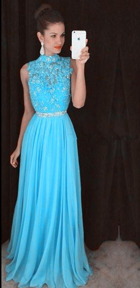 Charming Prom Dress, Appliques Chiffon Blue Prom Dresses, #prom #promdress #dress #eveningdress #evening #fashion #love #shopping #art #dress #women #mermaid #SEXY #SexyGirl #PromDresses