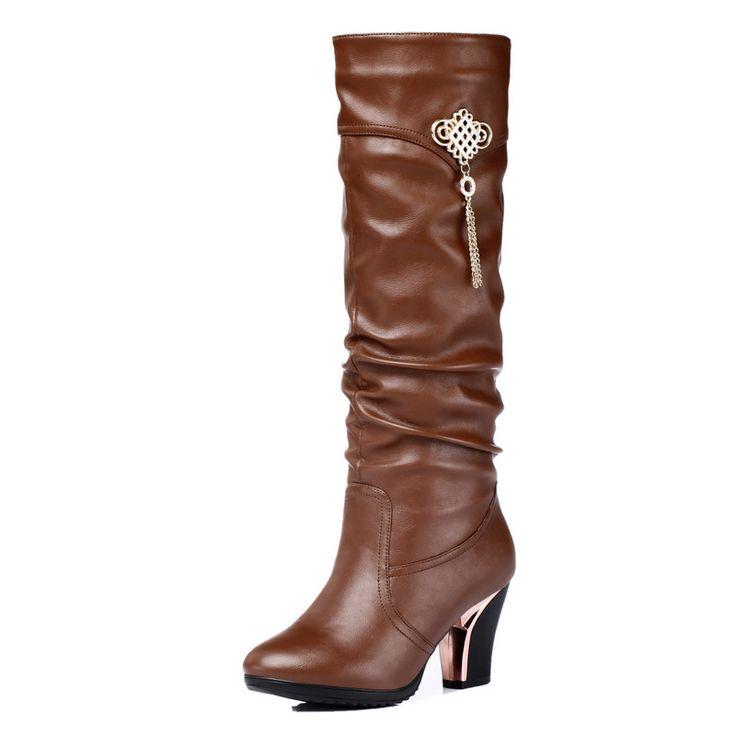 Pas cher Bottes d\u0027hiver femmes 2 couleurs mode à talons hauts bottes bout  rond