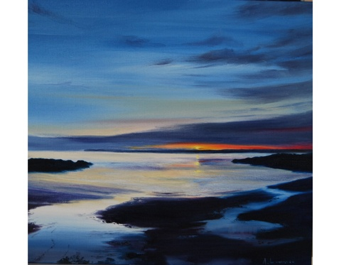 Evening Tide Mossyard (Mounted or Unmounted) by Angela Lawrence.    Signed and Numbered Giclee Print from an Oil painting.     Available from Spring Fling Webshop. £80.00