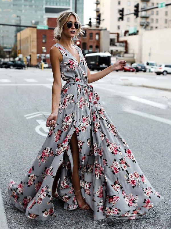 f658ca7abf9c Summer Maxi Dress 2019 Floral Long Dress Women Chiffon V Neck Split Beach  Dress